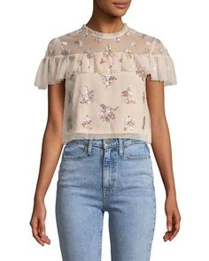 """Lustre Floral Embellished Ruffle Crop Top by Needle & Thread. Needle & Thread """"Lustre"""" top in tulle with floral embellishments. Back zip. polyester lining. Crop Top Outfits, White Outfits, Balenciaga Top, Embellished Crop Top, Crop Tops Online, T Shorts, Needle And Thread, Floral Tops, Clothes For Women"""