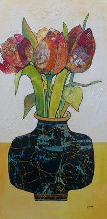 Spring Tulips - Linda Bell Collage Artist Tulips are made from gelli papers and the vase and background is tissue