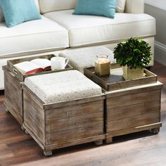 Is it a table or is it an ottoman? Sleek and innovative, our Taupe & Cream Reversible Tabletop Storage Ottoman transforms fashionable seating to a functional tabletop with the flip of a lid. So make it what you want it, but its wood natural finish is guaranteed to add a weathered and unique look to your home.