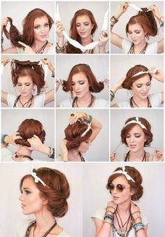 Easy Everyday Hairstyles, Easy Summer Hairstyles, Easy Hairstyles For Medium Hair, Step By Step Hairstyles, Bandana Hairstyles Short, Hipster Hairstyles, Scarf Hairstyles, Vintage Hairstyles, Wedding Hairstyles