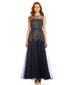 Looking for a gown for that special occasion? Check out this Tahari By ASL Metallic Floral-Embroidered Illusion Gown. Navy & Gold Dress. Size 8 Med. Available now on eBay.