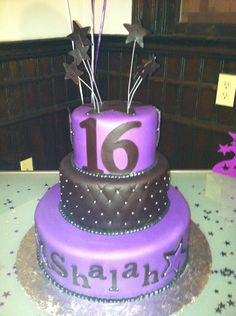 Purple Sweet 16 Birthday Cakes | Tier Purple, Black and Silver Sweet 16 Cake — Birthday Cakes
