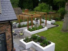 contemporary landscape ideas composite decking wood pergola planter boxes modern patio design Source by lanafry