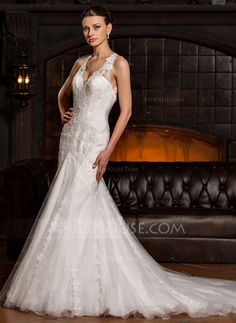 [US$ 339.99] Trumpet/Mermaid V-neck Chapel Train Tulle Lace Wedding Dress (002067225)