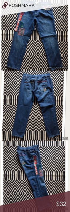 CAbi patchwork cropped jeans. Like new condition. CAbi patchwork cropped jeans. Size: 4. 100% cotton. Measurements pictured. CAbi Jeans Ankle & Cropped