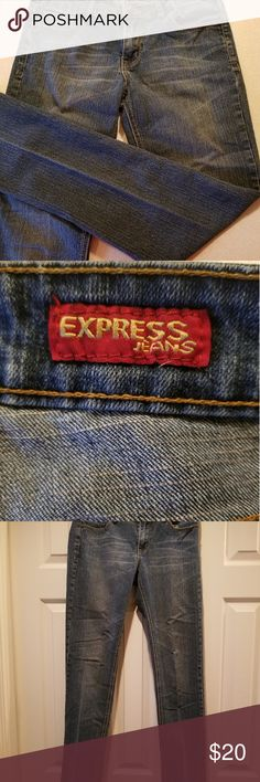 167c54d3 ❗Express jeans EUC Express low-rise medium wash Jean's. Nice pattern on the