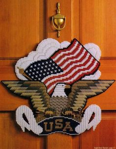 EAGLE DOOR BANNER AMERICAN FLAG PLASTIC CANVAS PATTERN ONLY FROM A BOOK #PATTERNFROMABOOK
