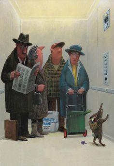 Hase im Aufzug: Illustration by Gerhard Glück  Beautiful illustration!