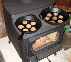 Cookies on a wood stove.  Cooking on the wood burner is like cooking on a camp fire.  A cast iron pan works the same on both.