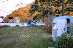 Caravan by Sea and Washing royalty-free stock photo New Zealand Image, Long Hots, Kiwiana, Image Now, Caravan, Modern Contemporary, Commercial, Royalty Free Stock Photos, Outdoor Decor