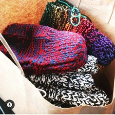 """""""Ten pairs out the door today!! So happy others will be warm and comfortable while staying at some local AIRBNBS!!"""" Knitted Slippers, Mens Slippers, Knitting Needles, Mother Day Gifts, Color Combos, Colours, Pairs, Crochet, Happy"""