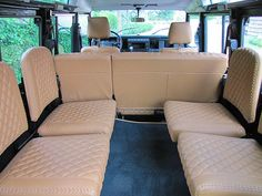 1984 Land Rover Defender 110 interior - general seat configuration - - too light of color
