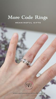 Stackable Morse Code Ring, Sterling Silver and Gold Stretch Ring. #morsecodering #morsecodejewelry #tinyring #stackablering Mother Gifts, Gifts For Mom, Handmade Accessories, Handmade Jewelry, Rings With Meaning, Tiny Rings, Morse Code, Beaded Rings, Stackable Rings