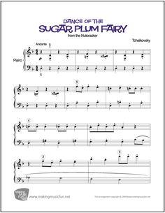 Dance of the Sugar Plum Fairy   Sheet Music for Piano (Digital Print) http://makingmusicfun.net/htm/f_printit_free_printable_sheet_music/sugar-plum-fairy-piano.htm