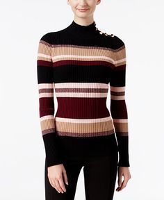 INC International Concepts Striped Mock-Neck Sweater, Only at Macy's