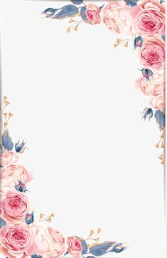 Graphic Pink & Green/Grey Floral Border Pink Floral Background, Flower Background Wallpaper, Pastel Wallpaper, Floral Border, Flower Backgrounds, Background Vintage, Watercolor Border, Watercolor Leaves, Watercolor Background
