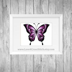 Purple Butterfly Cross Stitch Pattern Modern, Large Purple Butterfly Cross Stitch, Ombre Butterfly Cross Stitch, PDF Pattern Modern Wings  This PDF counted cross stitch pattern available for instant download. Floss: DMC Fabric: AIDA 14-count ( other AIDA Fabric Counts may be used, the finished pattern will be different in size) Number of Colors: 8 Full Cross stitches only Size: 350x 292 stitches ( 25.00 x 20.79 on 14 ct Aida)   There is no background around the butterfly to be stitched. You…