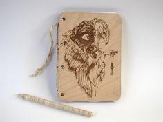 wooden sketchbook engraved wood notepad for drawings sketchbook ecological notepad girl eagle jou Wooden Bag, Wooden Gifts, Zine, Laser Engraving, Etsy Shop, Drawings, Unique Jewelry, Handmade Gifts, Eagle