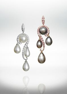 18k white gold, 18k rose gold, white & grey natural pearl, pink & colorless diamond earrings