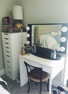 Welcome to my vanity tour! I have a pretty extensive makeup collection, and being the organization freak I am, I have to hav. Study Room Decor, Black Vanity, Vanity Ideas, Beauty Tutorials, Makeup Collection, Tours, Hair, Furniture, Home Decor