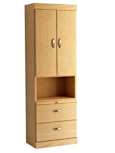 Shaker Style Bookcase with Top Doors and Bottom Drawers in Oak - Honey Finish