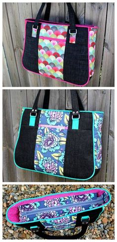 Free Tote Bag Patterns You Can Sew in a Day! Bag Patterns To Sew, Tote Pattern, Patchwork Patterns, Sewing Patterns, Purse Patterns Free, Patchwork Bags, Quilted Bag, Diy Bags Purses, Simple Bags