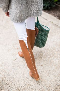 Cognac boots, gray sweater & white skinnies for early Spring when it is still cold