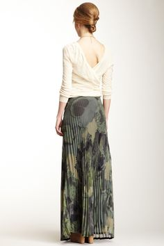Camouflage Floral Pleat Maxi