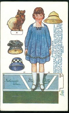Unused Fashionable Wear Paper Doll Postcard w Corgi c1910s Toy Town Series | eBay