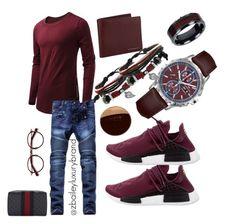 """Burgun Day"" by zaneta-bailey on Polyvore featuring adidas, Hamilton, Vance Co., Gioelli, Burberry, Gucci, Bulgari, EyeBuyDirect.com, men's fashion and menswear"