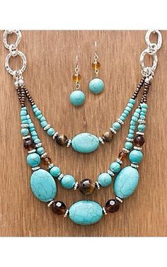Turquoise Jewelry M Western Products® Semi Stone Turquoise Beaded Set Wire Jewelry, Boho Jewelry, Jewelry Sets, Beaded Jewelry, Jewelery, Jewelry Accessories, Jewelry Design, Fashion Jewelry, Jewelry Necklaces