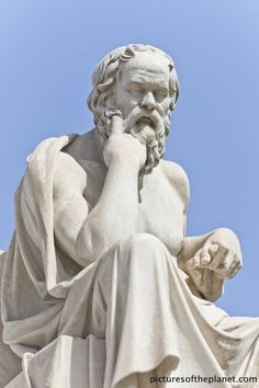 Statue of the Greek philosopher Socrates in front of the National Academy of Athens, Greece.