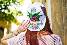 asos tropical mirror print white cap on red hair by Shiny Thoughts in 'La Vie Provencale'