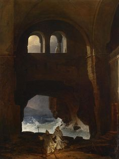 Monks in the Courtyard of a Monastery on the Sea ~ Franz Ludwig Catel ~ (German, 1778-1856)