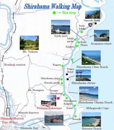Walking in Shirahama with map & photos