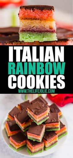 Whether you call these authentic Italian cookies Neapolitan Cookies, Tricolor Cookies or Rainbow Cookies, they are so delicious and are a gorgeous addition to any cookie platter! These are perfect for Christmas or any other holidays and special occasions. Italian Christmas Cookies, Christmas Food Gifts, Christmas Desserts, Winter Desserts, Christmas Drinks, Christmas Christmas, Köstliche Desserts, Delicious Desserts, Dessert Recipes