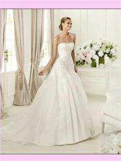 White Ball Strapless Tulle #2013 #Wedding #Dress