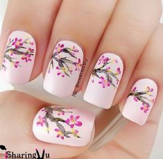 Beautiful cherry blossom spring nail art design. Spring is the time when cherry blossoms… - #nailartgalleries #nail #art #galleries