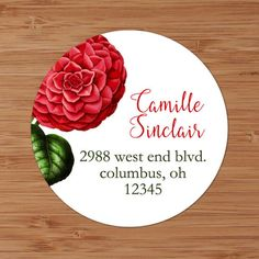 Red Camellia - Custom Address Labels or Stickers by PoshGirlBoutique on Etsy