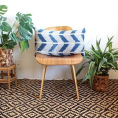 Indigo Zig Zag Lumbar Pillow Chevron Pillow by iheartnorwegianwood
