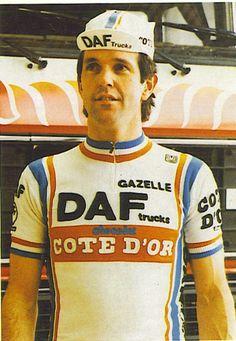 Roger De Vlaemnick wearing his Cote D`Or/DAF Trucks/Gazelle Retro Jersey.