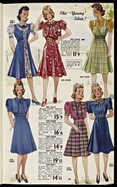 """Cute 1940s frocks.  I will pass this on to my """"fictional"""" sewing gal Violet. http://www.girlinthejitterbugdress.com"""