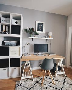 Sharing some beautiful workspace inspiration from . Workspace Inspiration, Room Inspiration, Home Office Design, Home Office Decor, Diy Home Decor Rustic, Cool Office Space, Aesthetic Rooms, Deco Design, Room Decor Bedroom