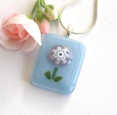 Flower fused glass pendant - lavender Italian millefiori on light blue glass - click on image to go to my online shop on Etsy