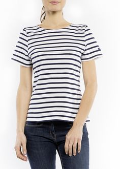 ce337175 Women's French Striped Sailor Tee, Short Sleeve, Saint James Etrille,  ECRU/NAVY, 4. Breton Stripe ShirtStriped ...