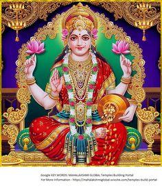 Lakshmi-Goddess of wealth Indian Goddess, Goddess Lakshmi, Goddess Art, Lord Vishnu, Lord Shiva, Mata Rani, Lakshmi Images, Mother Goddess, Gods And Goddesses