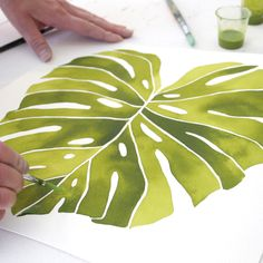Painting a Monstera Deliciosa • 12X12 on 140lb pure cotton paper www.livingpattern.net #artist #originalart #wip #painting #illustration #creativityfound #abmlifeiscolorful #dscolor #plants #ink #process #largescale #monstera #artist #art #originals #painting #illustration #dslooking #dspattern #minimalist #whiteaddict #creativityfound #livingpattern #black