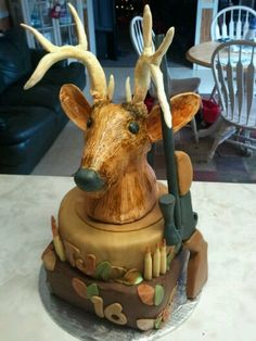 Edible Whitetail Deer Cake Topper Set ........can someone make this for my sons birthday on the 25th please let me know!!! Camo Cakes, Deer Cakes, Cake Cookies, Cupcake Cakes, Cupcakes, Cakes For Men, Cakes And More, Sons Birthday, Birthday Cakes