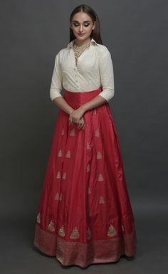 Blood Red Banarasi Zari Handwoven Skirt with Mukaish Blouse Party Wear Indian Dresses, Indian Gowns Dresses, Dress Indian Style, Indian Fashion Dresses, Indian Designer Outfits, Indian Outfits, Skirt Fashion, Designer Dresses, Indian Skirt