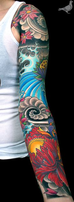 JAPANESE PEONY, CHERRY BLOSSOMS, WATER AND CLOUD SWIRL SLEEVE TATTOO | durbmorrison.com